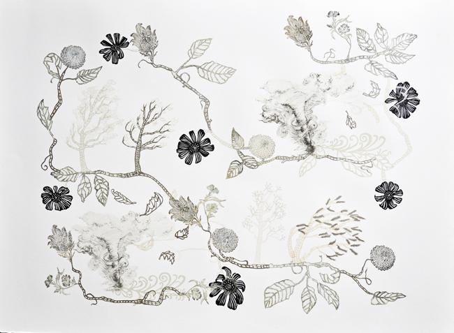 susan graham collage print electrical tower art floral art